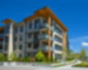 Brand new apartment building on sunny da