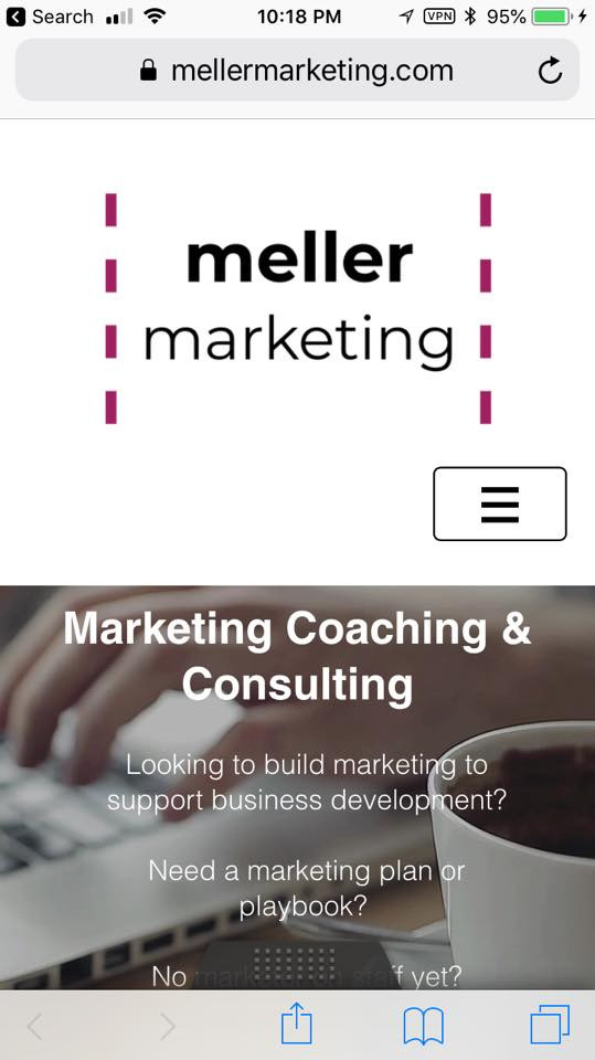 Meller Marketing website - mobile view of my homepage
