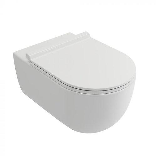 Velino rimless wall mounted pan and soft close seat