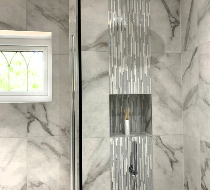 wet room walk in shower mosaic feature tile