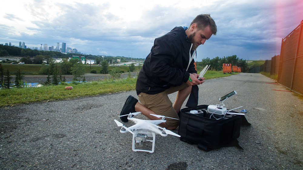 Putting together a drone just before take off