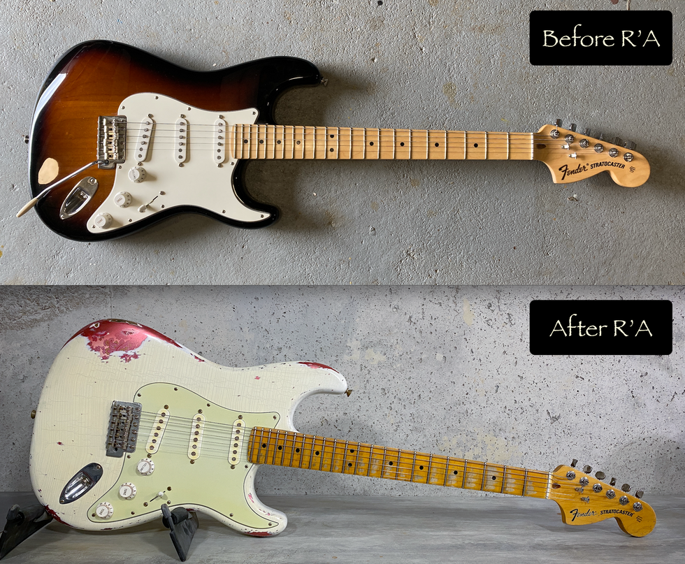 Fender stratocaster american special refin faded olympic white over paisley