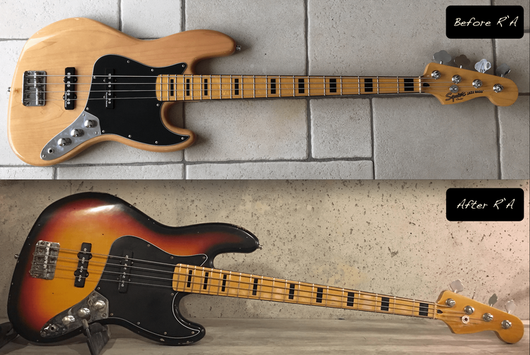 Squier Jazz bass sunburst relic