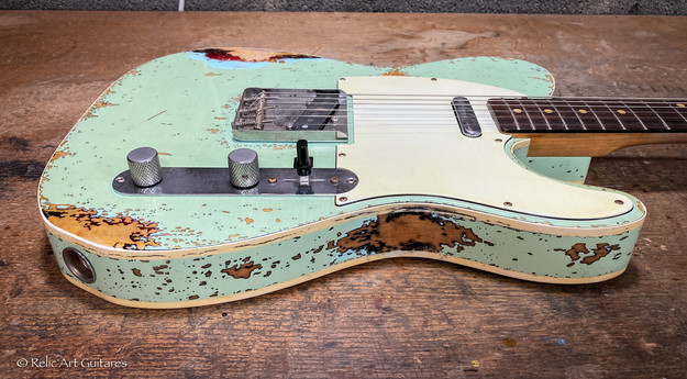 Fender Telecaster RI 62 custom refin surf green over sunburst