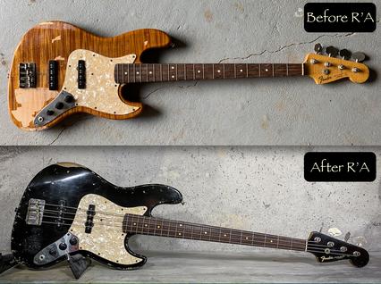 Fender Jazz Bass refin Jet Black relic