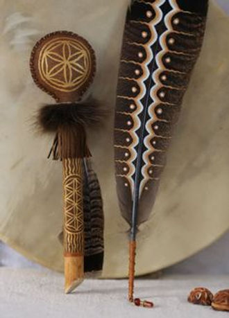 Shamanic ratte and feather