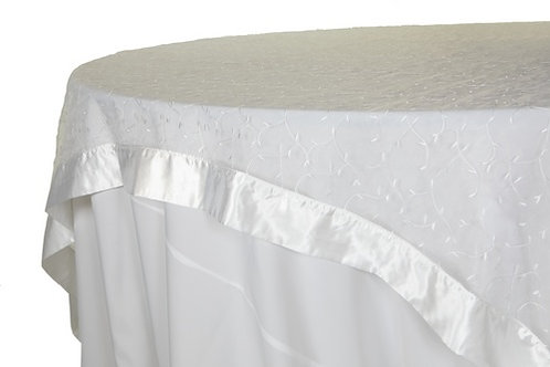 Specialty Banded Embroidered Sheer White