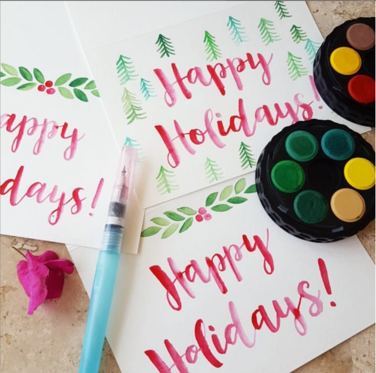 Happy Holidays Watercolor
