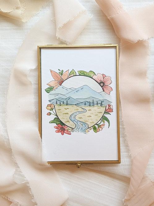 Floral Mountain Print