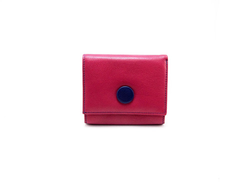 Porte Monnaie Cuir Femme Porte Cartes Couleur Rose Bleu AR - Porte monnaie cuir femme