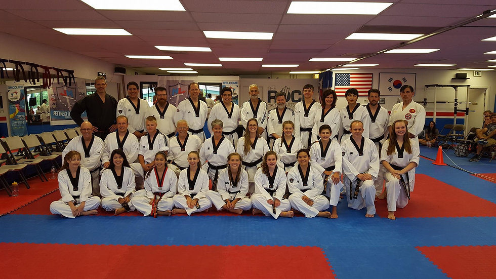 The ROCK Taekwondo Group Photo, Littleton Martial Arts, Black Belt Testing