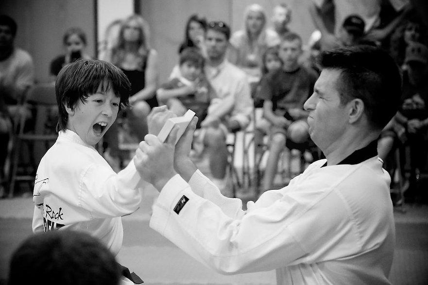 Littleton CO Martial Arts, The ROCK Martial Arts & Fitness, Tiger Taekwondo Breaking Board, hammer fist board break
