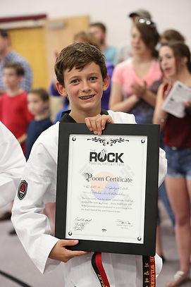 Littleton CO Martial Arts, The ROCK Martial Arts & Fitness, Tiger Rank Certificate Boy, Taekwondo jr Black belt
