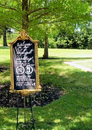 """Unplugged"" Wedding Sign"