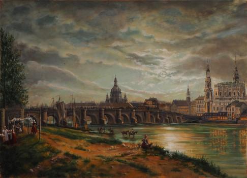 """"""" Vue de Dresde au clair de lune"""", d'après Johan Christian Dahl"""