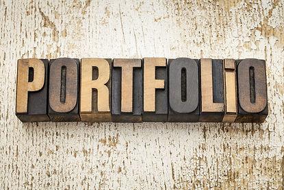 portfolio word in vintage letterpress wo