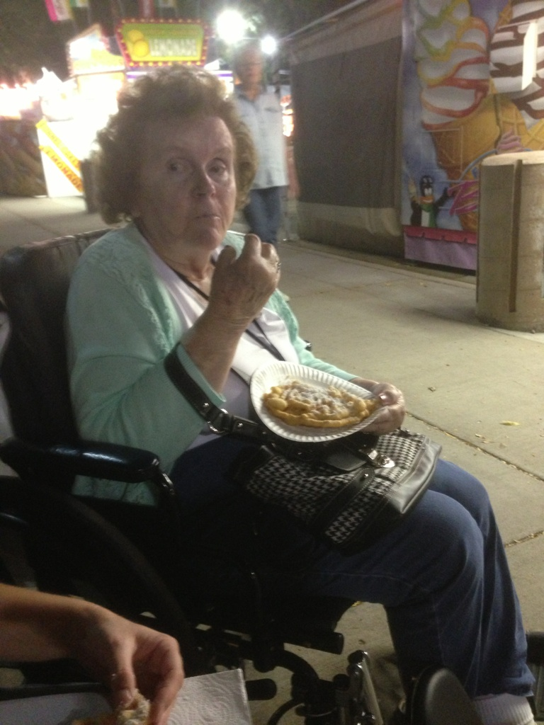 Enjoying funnel cake