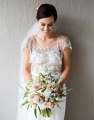 FLOWERS FOR BRIDE- WEDDING DRESS-WEDDING BRIDE AND BOUQUET WITH HEAD GARLAND