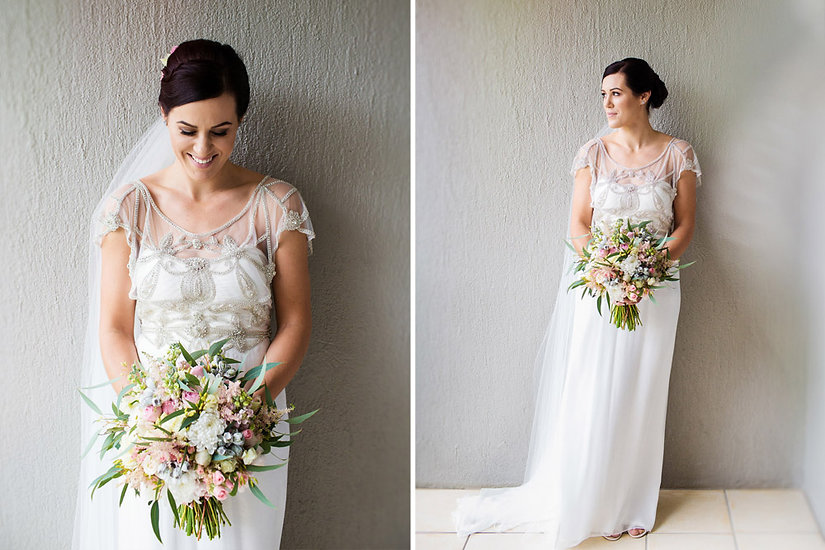 GEORGEOUS BRIDE WITH WEDDING BOUQUET