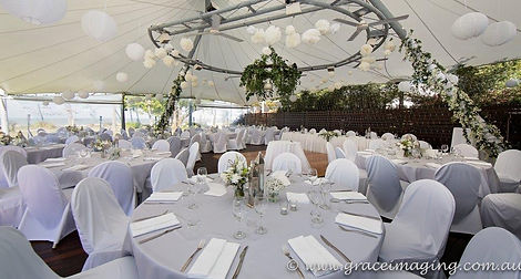 Castaways Resort Mission beach wedding reception  decorated  by Flowers by Jenny