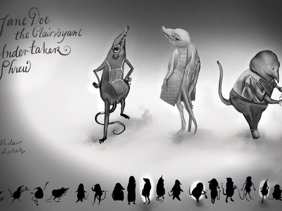 Character Designs: Jane Doe & the Clairvoyant Undertaker Shrew