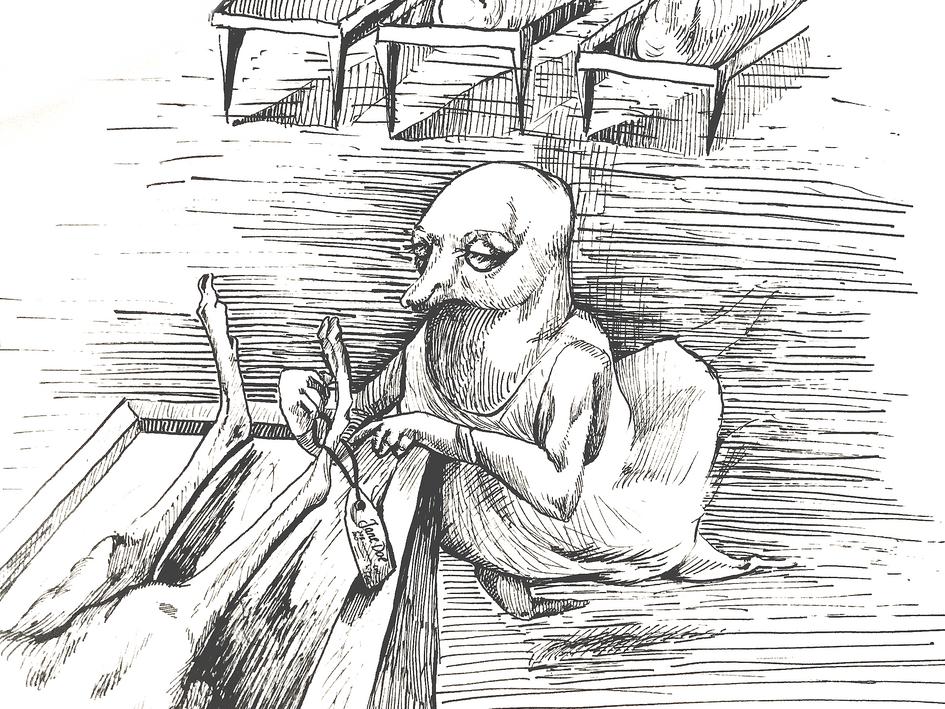Hand Inking: Jane Doe & the Clairvoyant Undertaker Shrew