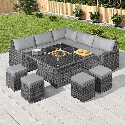 Grey Rattan Corner Lounge Set with Firepit