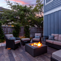 Beautiful backyard firepit at dusk with