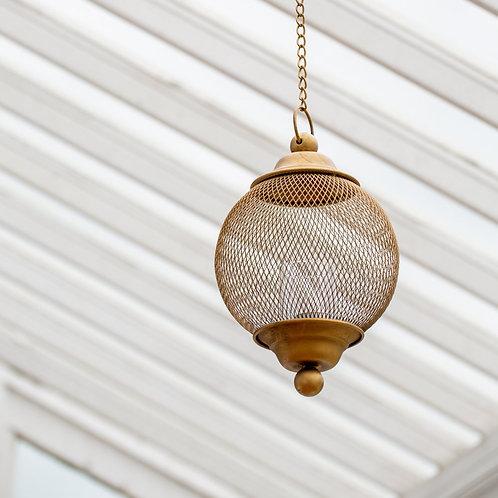 Hanging Globe Lantern - Antique Brass