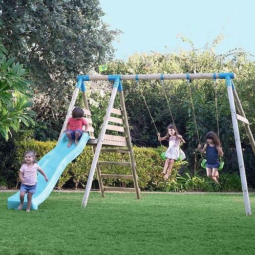 TP Brecon Wooden Double Swing Set & Slide - FSC Certified