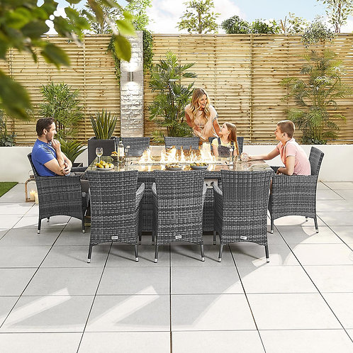 Amelia Rectangle Dining Set With Firepit (6 or 8 seat, Multiple Colours)