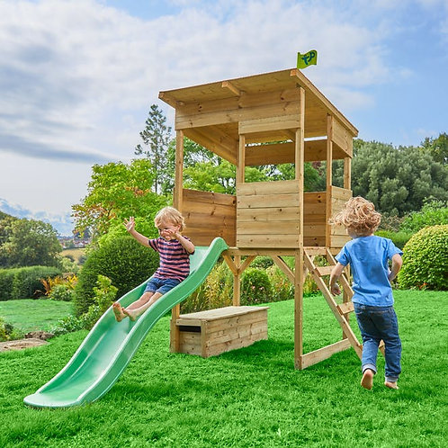 TP Treetops Wooden Tower Playhouse with Toy Box and Slide - FSC Certified