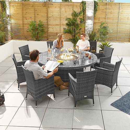 Amelia Round Dining Set With Firepit (6 or 8 Seat, Multiple Colours)
