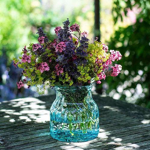 Hammered Green Glass Vase