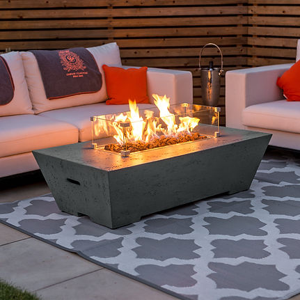 Gas Firepit Coffee Table with Protective Glass Surround