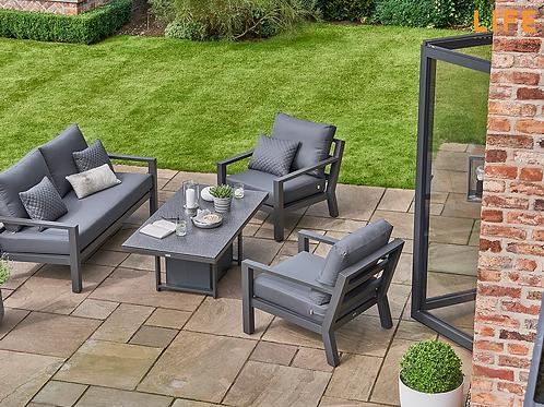 Timber  Lounge Set (Aluminium) with rising table