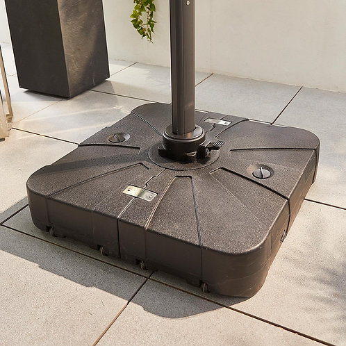 100kg Cantilever Parasol Base With Wheels - Black