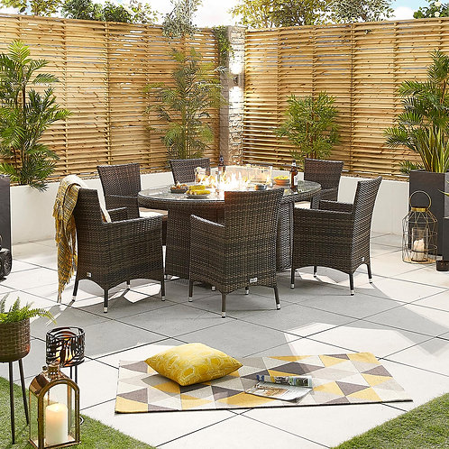 Amelia Oval Dining Set With Firepit (6 Seat, Multiple Colours)