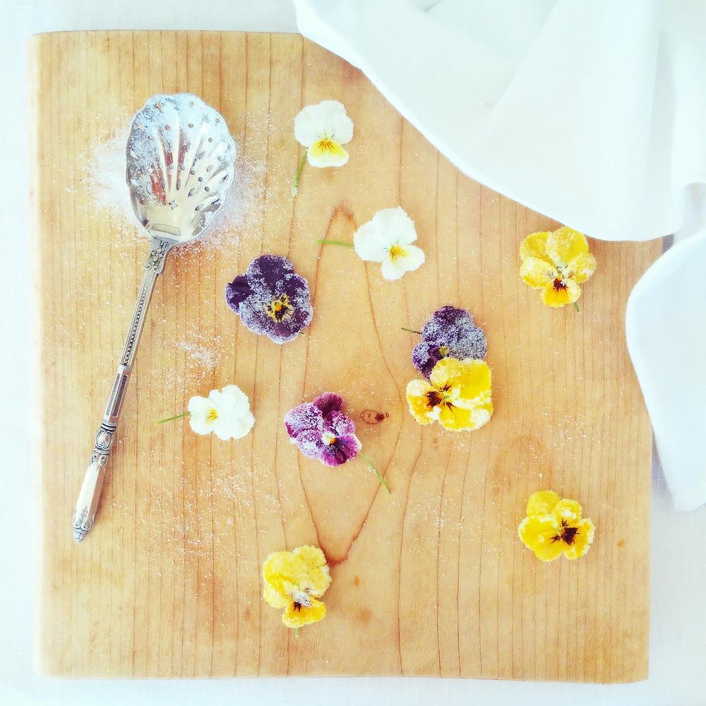 Crystallised Violas - Sky Meadow Bakery blog