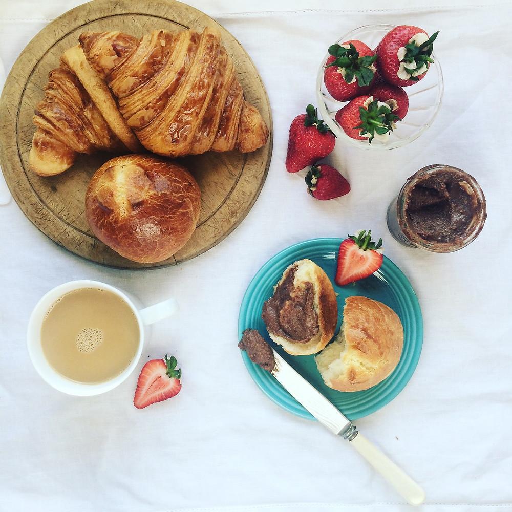 Hazelnut spread on brioche for breakfast - Sky Meadow Bakery blog