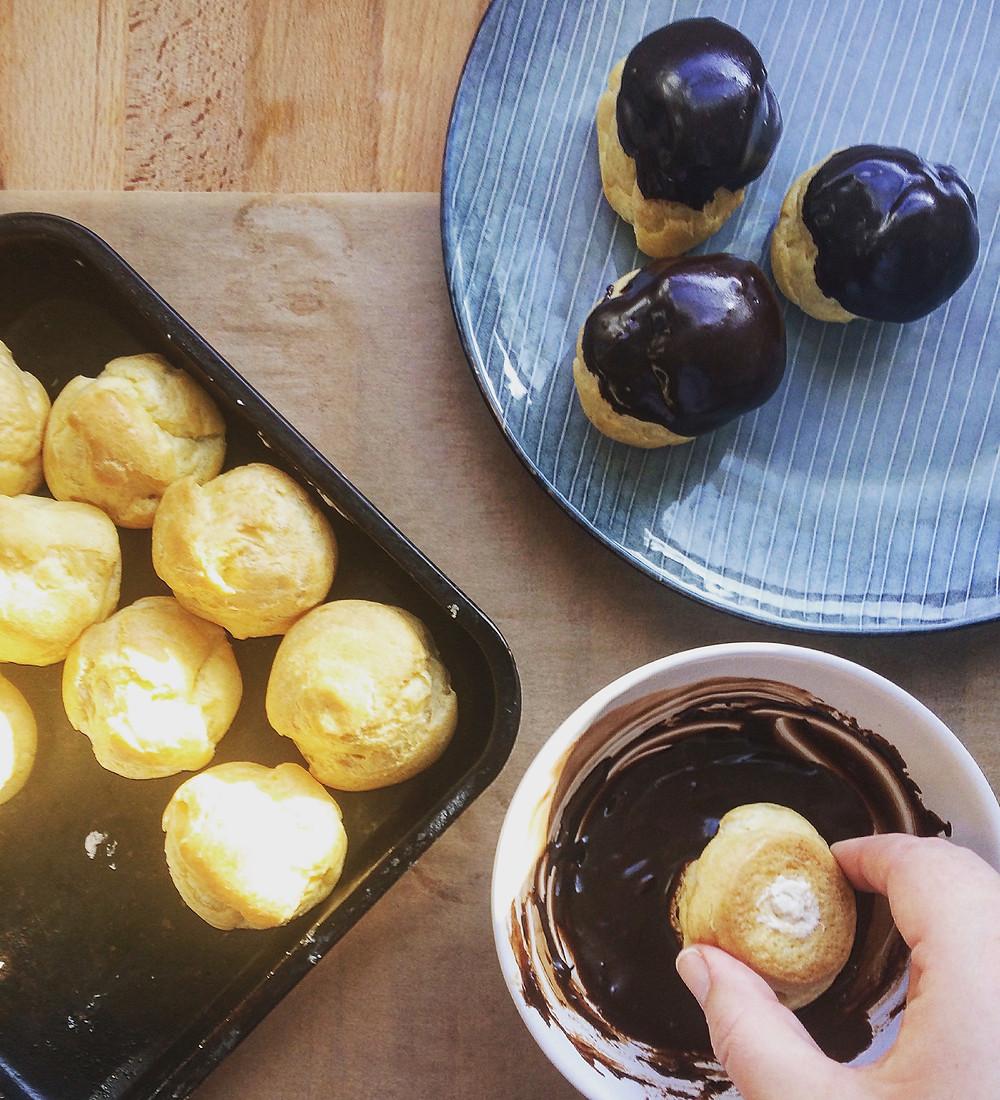 Coating Profiteroles - Sky Meadow Bakery blog
