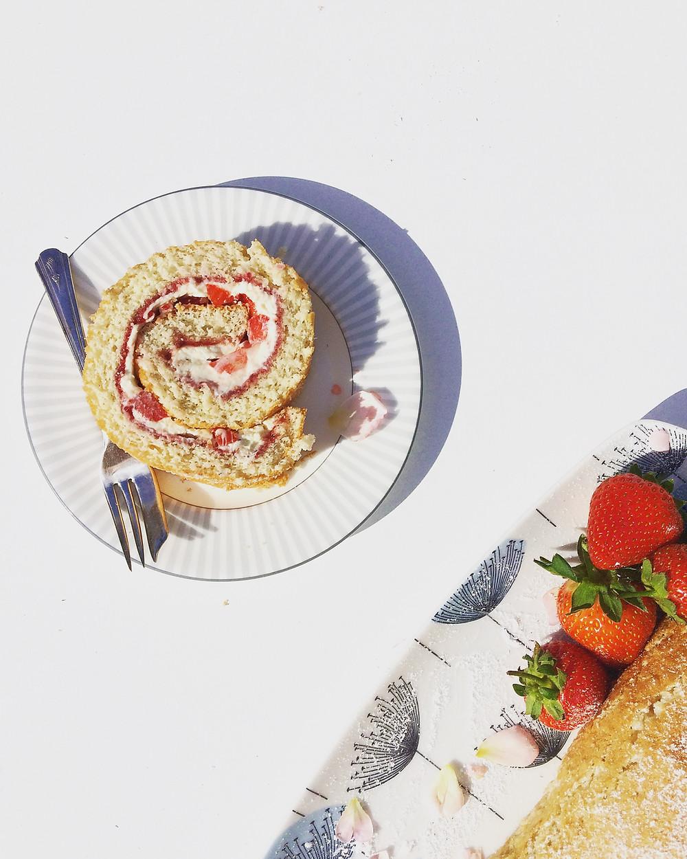 Eton Mess Swiss Roll - Sky Meadow Bakery blog