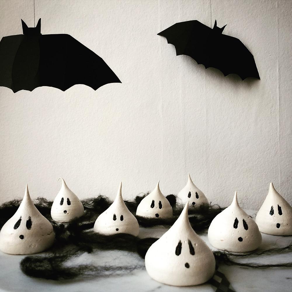Halloween Ghost Meringues - Sky Meadow Bakery Blog