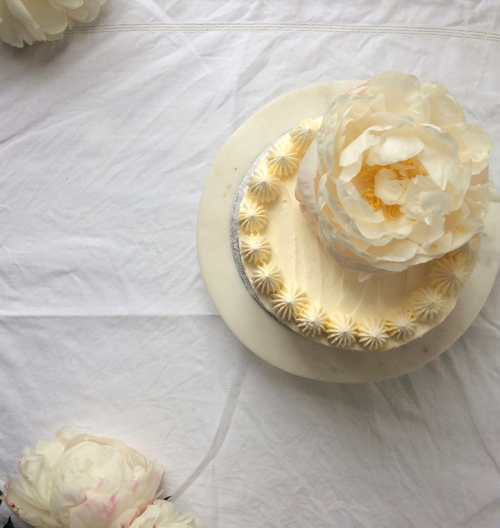 Peony Topped Cake
