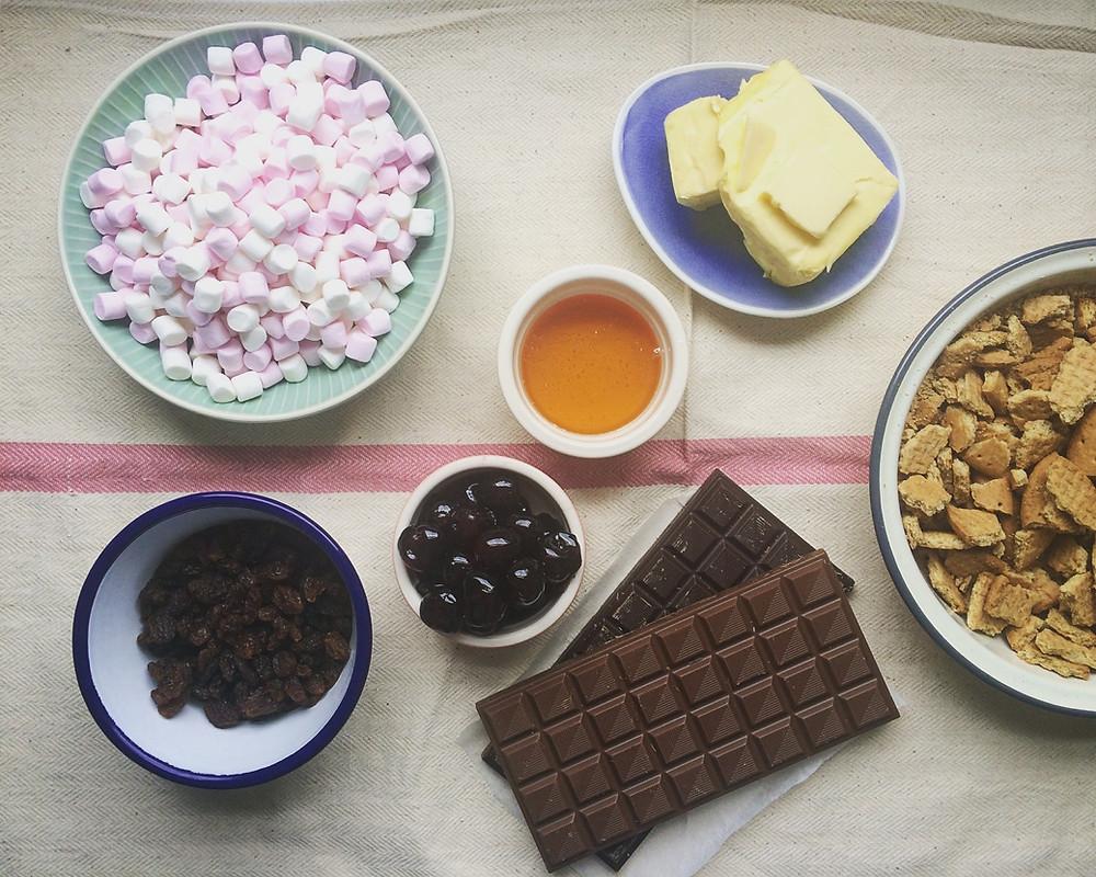 Ingredients for Rocky Roads - Sky Meadow Bakery blog
