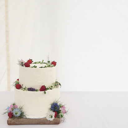 Strawberries and cream wedding cake