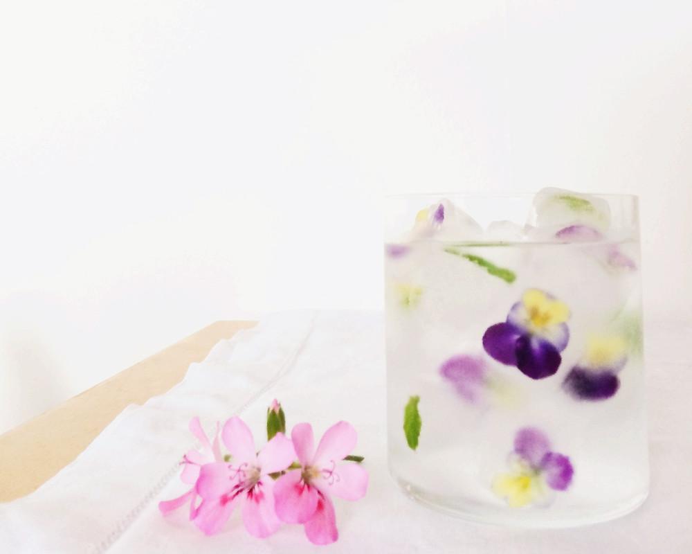 Floral Ice Cubes - Sky Meadow Bakery blog