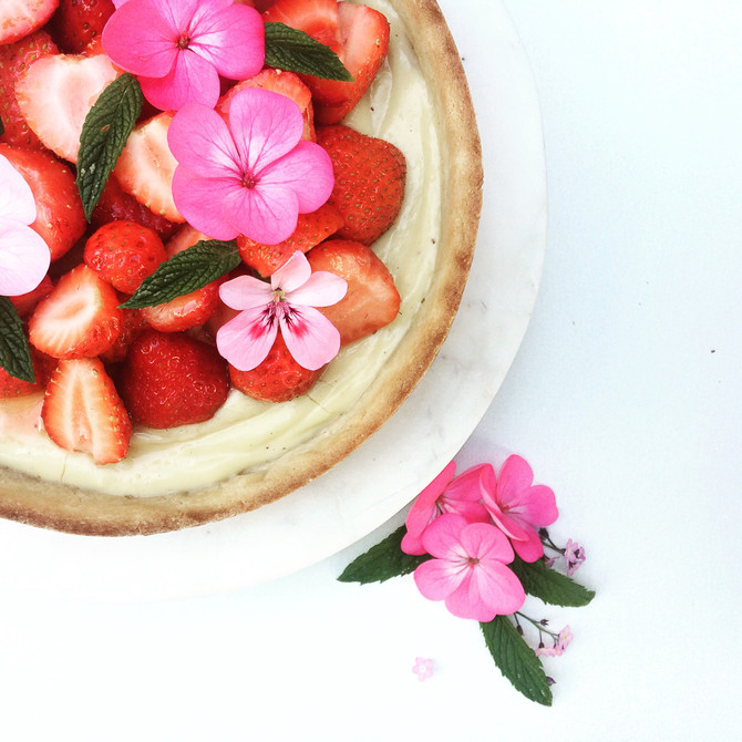 Home grown strawberries on a homade tart