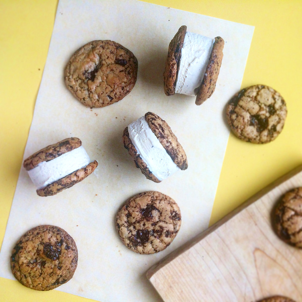 Chocolate Chip Cookie Ice Cream Sandwiches - Sky Meadow Bakery blog