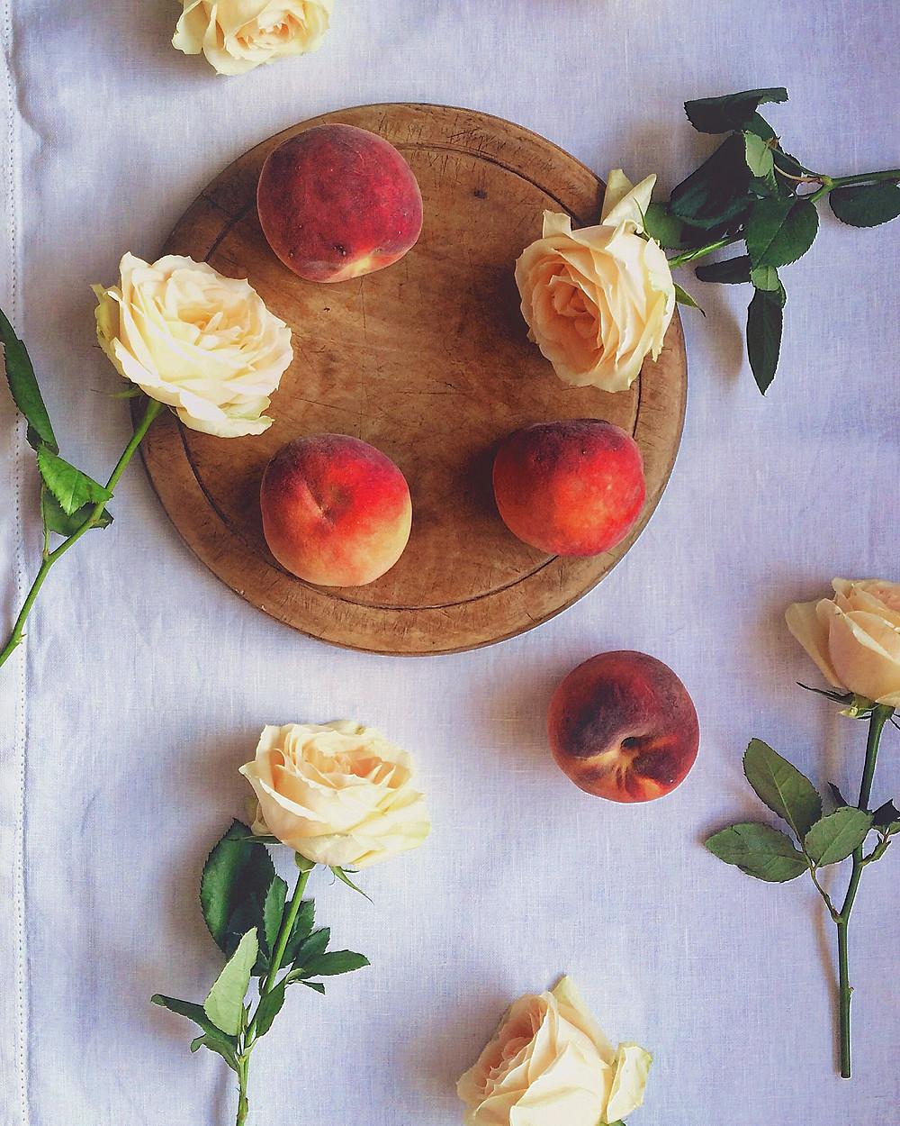 Peaches and Peach Roses - Sky Meadow Bakery blog